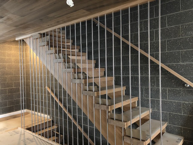timber stairs with cage